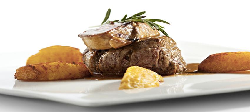 Médaillon de veau aux pommes et au foie gras